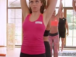Blonde sucks cock to her yoga coach