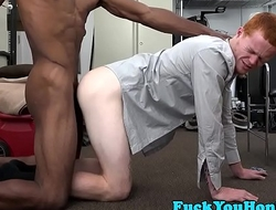 Straight ginger ass barebacked interracially