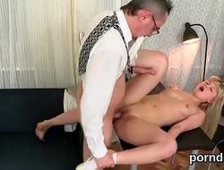 Sweet schoolgirl was tempted and reamed by her elder teacher