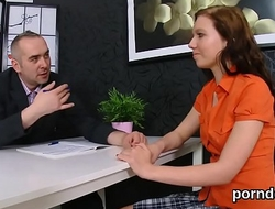 Cute college girl was teased and banged by her aged teacher