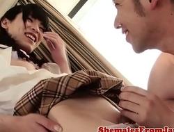Japanese schoolgirl sucked off then fucked
