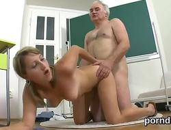 Pretty schoolgirl gets tempted and screwed by her elder schoolteacher