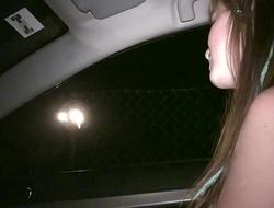 Young cute teen girl Alexis Crystal undressing in car public sex orgy gang bang
