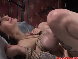 Bound busty sub spanked by black maledom