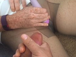 Cum on my pantyhose as I make myself cum