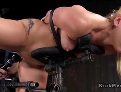 Bound in sitting position blonde got anal toyed