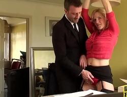 Tiedup brit sub fingerfucked before throated