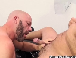 Bald bear barebacking inked mature after bj