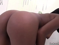 Short haired brunette ebony Karma May blowing dick through a glory hole