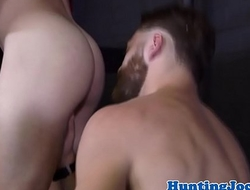 Assfucked fitness hunk drops his milky load