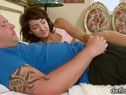 Lovesome chick spreads soft hole and gets deflorated