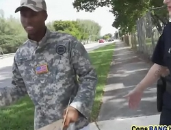 Black dude in fake army uniform stand fu-soldier-gets-used-as-a-fuck-toy-blackpa