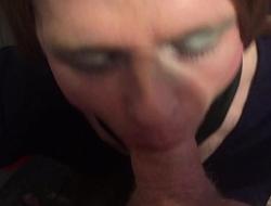 AlexisBane UK British cocksucking TV slut sucks cock and has cum facial