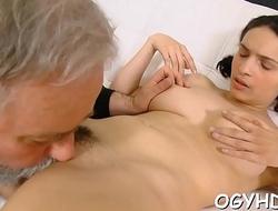 Olf fart fucks throat of a juvenile gal