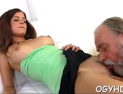 Tiny young vixen rides old cock