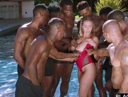Insatiable nympho with big natural tits enjoys interracial gangbang