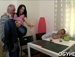 Juvenile pussy filled by old pecker