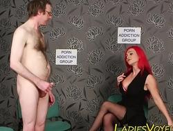 Busty femdom babe watches